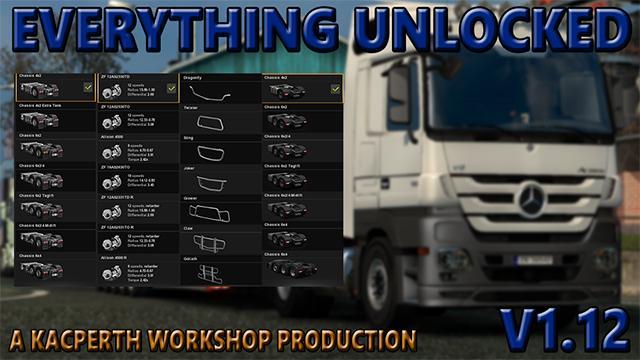 EVERYTHING UNLOCKED V1 12 (1 30 x) | ETS2 mods | Euro truck