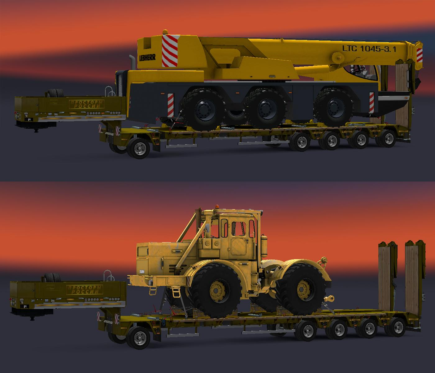 Heavy cargo trailers pack for russian open spaces map for The russian mod