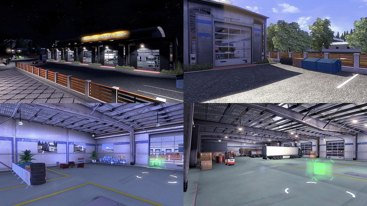 Trucking Company Garage : Custom large garage type b ets mods euro truck