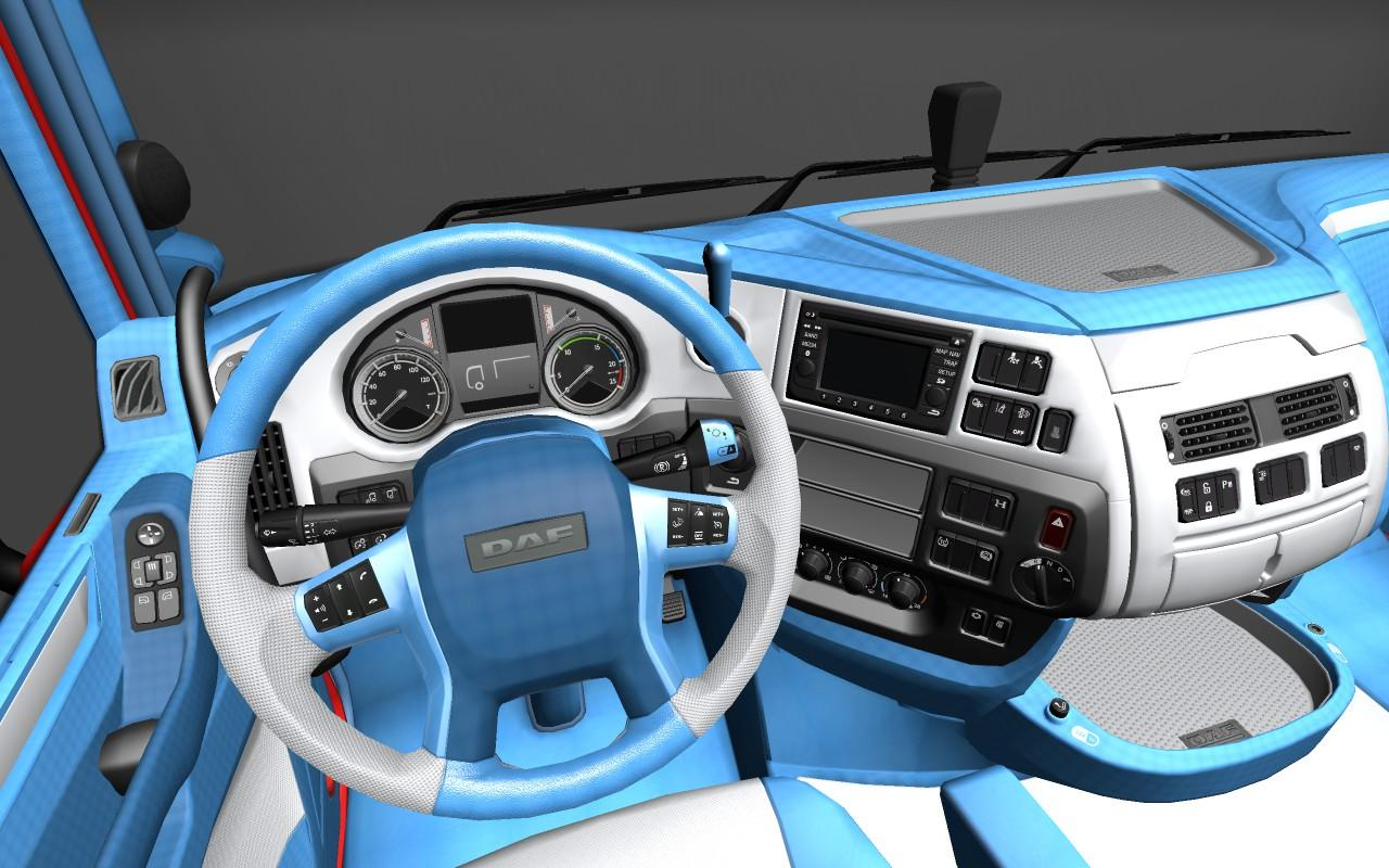 Daf euro 6 blue and white interior ets 2 mods for Daf euro 6 interieur