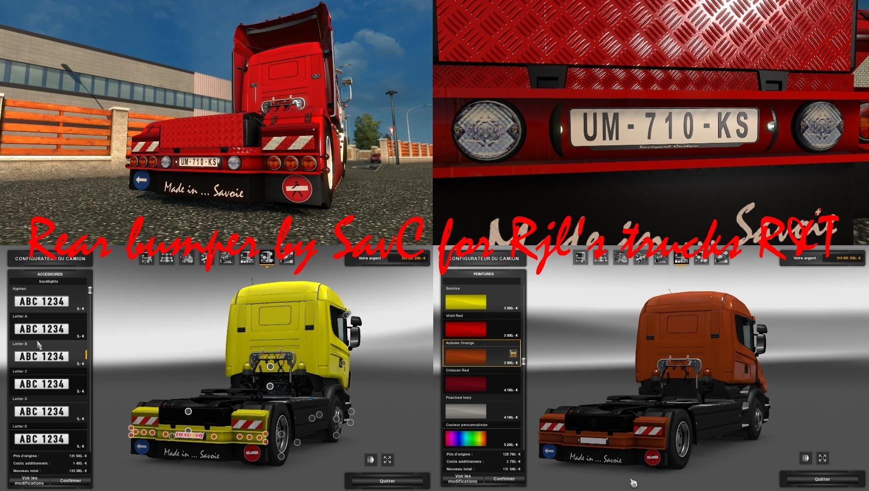 Rear bumper by savs for scania rjl rt
