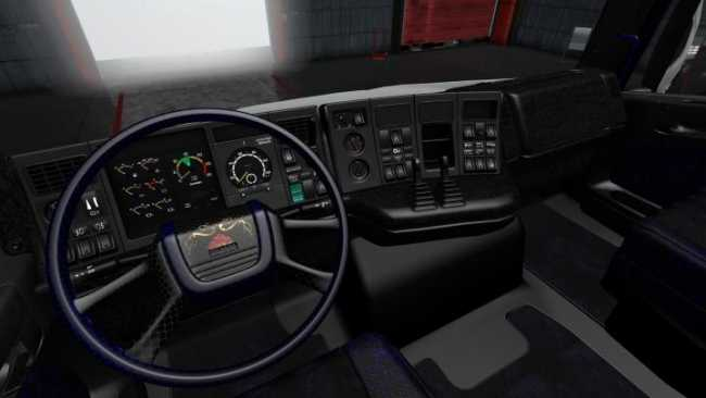 SCANIA RJL 4 SERIES BLACK AND DARK BLUE INTERIOR [1 28 X