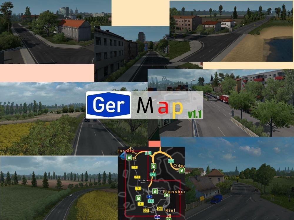 GerMap v1 1 1 35 x | ETS2 mods | Euro truck simulator 2 mods